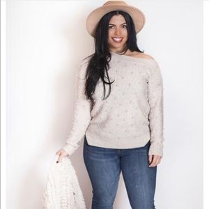 Sweaters - Pearl off the shoulder sweater